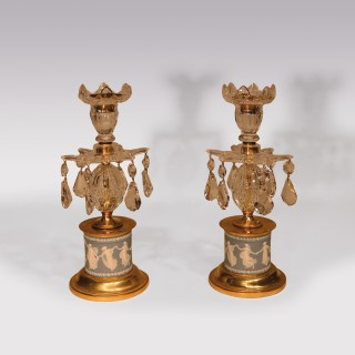 Pair Of George III Glass Lustre Candlesticks
