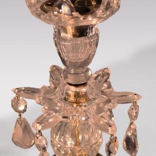 Pair Of George III Glass Lustre Candlesticks