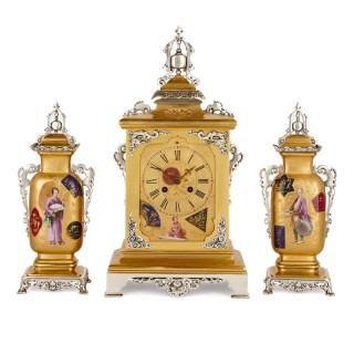 Japanese style gilt brass clock set with silvered brass and porcelain mounts