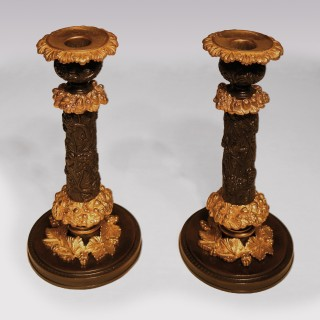 Pair Of Early 19th Century Bronze And Ormolu Grape And Vine Candlesticks