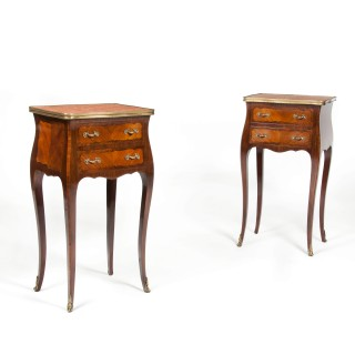 An Elegant Pair of Antique French Marble Top Bedside Cabinets