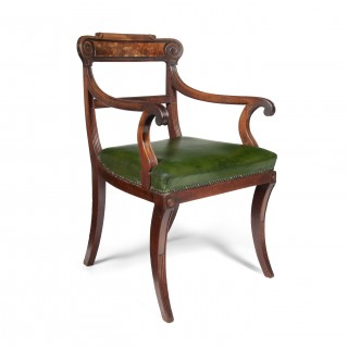 Untouched Regency Mahogany Open Armchair With Leather Seat.