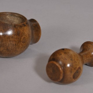 Antique Treen 19th Century Burr Boxwood Pocket Nut Cracker