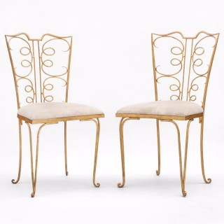 RENE PROU GILT METAL SIDE CHAIRS