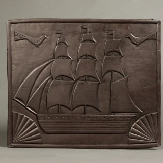 Carved Welsh folkart slate panel