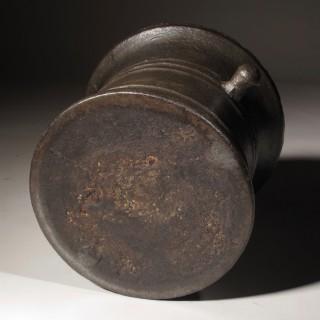 A Large Cast Iron Mortar