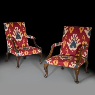 Near Pair of Early 18th Century Walnut Gainsborough Armchairs