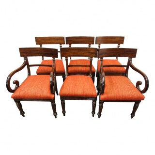 Set of 6 Scottish George IV Mahogany Dining Chairs