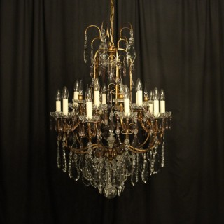 Italian Florentine Crystal 15 Light Chandelier