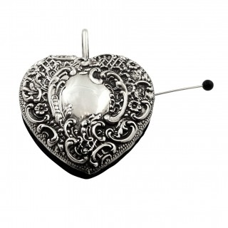 Antique Edwardian Sterling Silver Heart Pin Cushion 1902