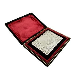 Antique Edwardian Sterling Silver Card Case - Gundog & Bird 1905