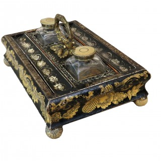 Antique Regency Chinoiserie Decorated Ink Stand