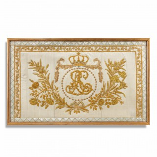 A gold thread Embroidery of Royal French interest