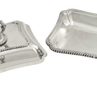 Pair of Antique Edwardian Sterling Silver Entree Dishes 1905