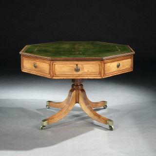 A George III Octagonal Mahogany Library Table by John Thompson