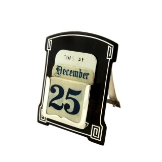 Antique Sterling Silver & Tortoiseshell Desk Top Calendar 1924