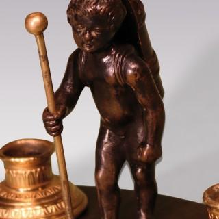 Early 19th Century Bronze & Ormolu Cherub Encrier