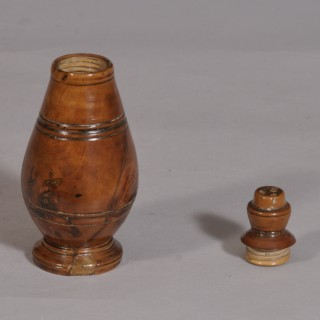 Antique Treen Georgian Conical Fruitwood Salt, Pepper or Spice Shaker