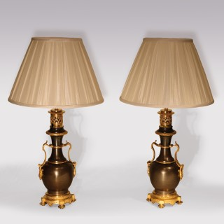 Pair Of Mid 19th Century Bronze And Ormolu Bulbous Oil Lamps