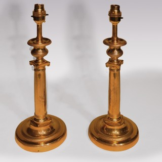 Pair Of Early 19th Century French Ormolu Candlesticks Lamps
