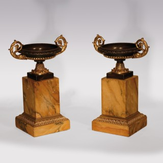 Pair Of Early 19th Century Bronze And Ormolu Tazzas With Dolphin Handles