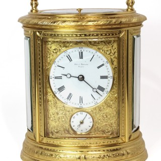Drocourt Engraved Oval Carriage Clock