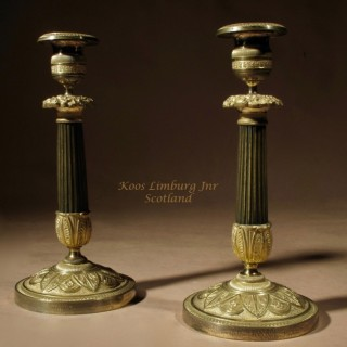 Charles X Patinated Bronze and Gilded Pair of Candlesticks