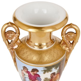 Pair of Renaissance style gilt and painted porcelain vases with romantic scenes