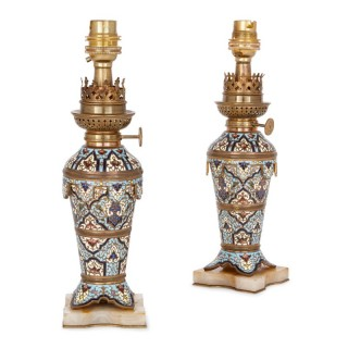 Two French 19th Century gilt bronze, champlevé enamel and onyx table lamps