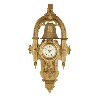 Large French 19th Century gilt bronze wall clock with religious inscriptions