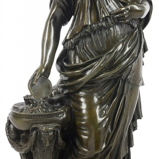 Graux Marly Large Bronze Statue of a Classical Female Figure, 19th Century