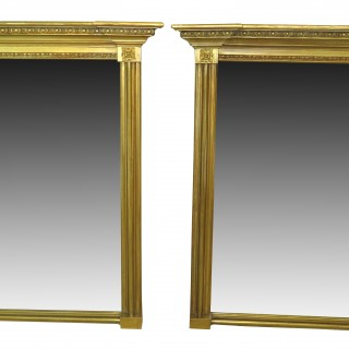 Antique Pair Of Regency Gilt Pier Mirrors