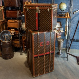Set of Two Louis Vuitton LV Monogram Pattern Trunks