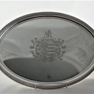 Super armorial George III silver tea tray London 1789 John Crouch