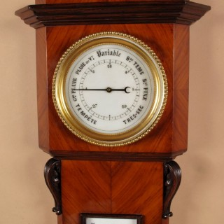 A Original an Unusual Rosewood/Tulpwood Barometer with Thermometer