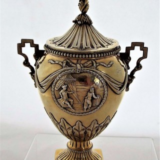 Unusual Adam style George III silver gilt sugar vase London 1774 Thomas Daniel