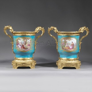 A Pair of Louis XVI Style Turquoise Ground Jardinières