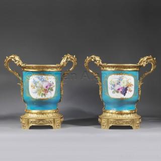 A Pair of Louis XVI Style Turquoise Ground Jardinières