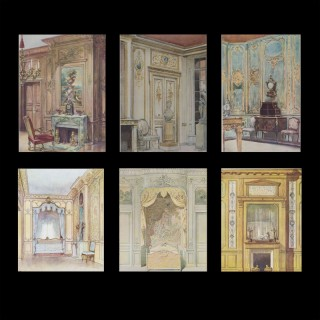 Set of Six Antique French Interior Decor Lithoghraphic Prints