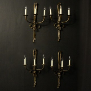 French Set Of 4 Rope Antique Wall Lights