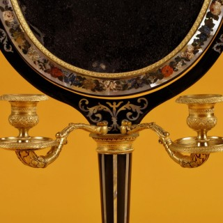 A Very Decorative and Original Ebony and Mother of Pearl Russian/French Dressing Mirror,