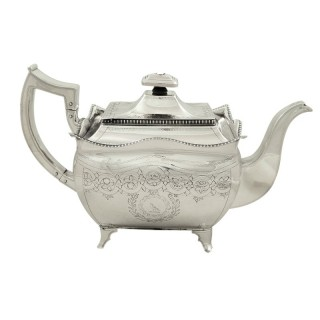 Antique Georgian Irish Sterling Silver Teapot - Dublin 1810