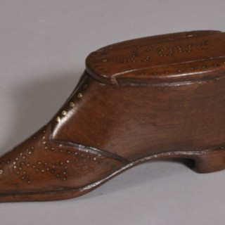 Antique Treen 19th Century Mahogany Snuff Shoe