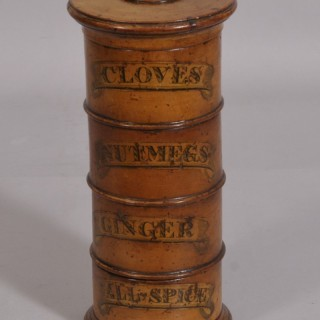 Antique Treen 19th Century Four Section Sycamore Spice Tower