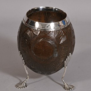 Antique 18th Century George III Silver Mounted Coconut Cup