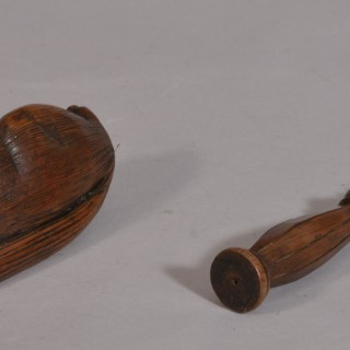 Antique Treen 19th Century Fruitwood Squirrel Nut Cracker