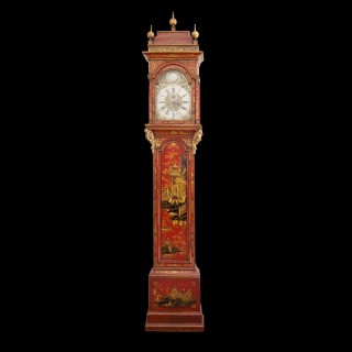 A queen Anne red lacquer longcase clock