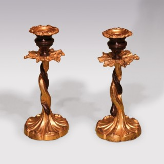 Pair Of Early 19th Century Bronze & Ormolu Candlesticks With Entwined Snakes