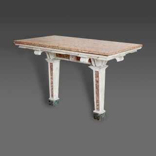 An Italian painted marble inset console table