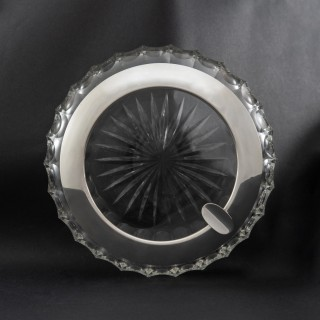 Large Cut Crystal Cigar Ashtray with Silver Collar